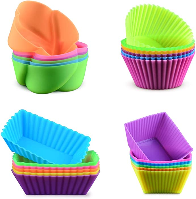Silicone Baking Cups Cupcake Liners - 24Pcs Reusable Silicone Molds Including Round, Rectanguar, Square, Flower BPA Free Food Grade Silicone