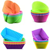 Silicone Baking Cups Cupcake Liners - 24Pcs Reusable Silicone Molds Including Round, Rectanguar, Square, Flower BPA Free…
