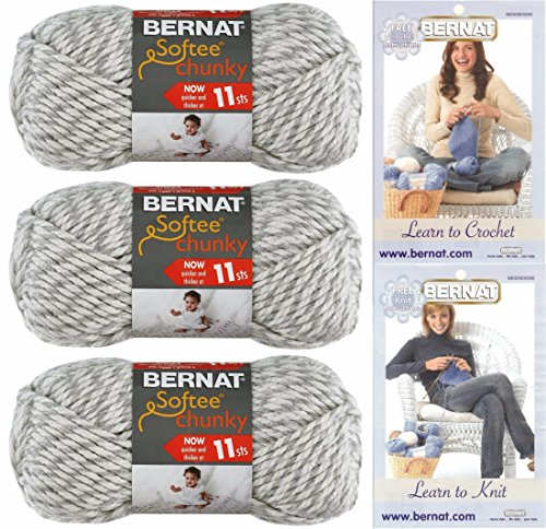 Bernat Softee Chunky Yarn Bundle Super Bulky #6, 3 Skeins Grey Ragg Twist 28047 Chunky Crochet Yarn