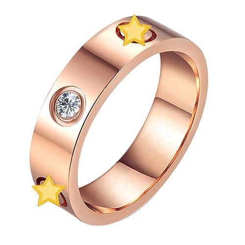 Oro rosa anillos de boda titanio acero inoxidable cabeza del tornillo, amor con CZ piedra: Amazon.es: Joyería