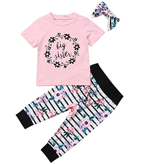 60c44e29e305 Little Sister Family Matching Set Baby Kids Girls Romper Jumpsuit Floral  Stripes Pants Pink Big Sister