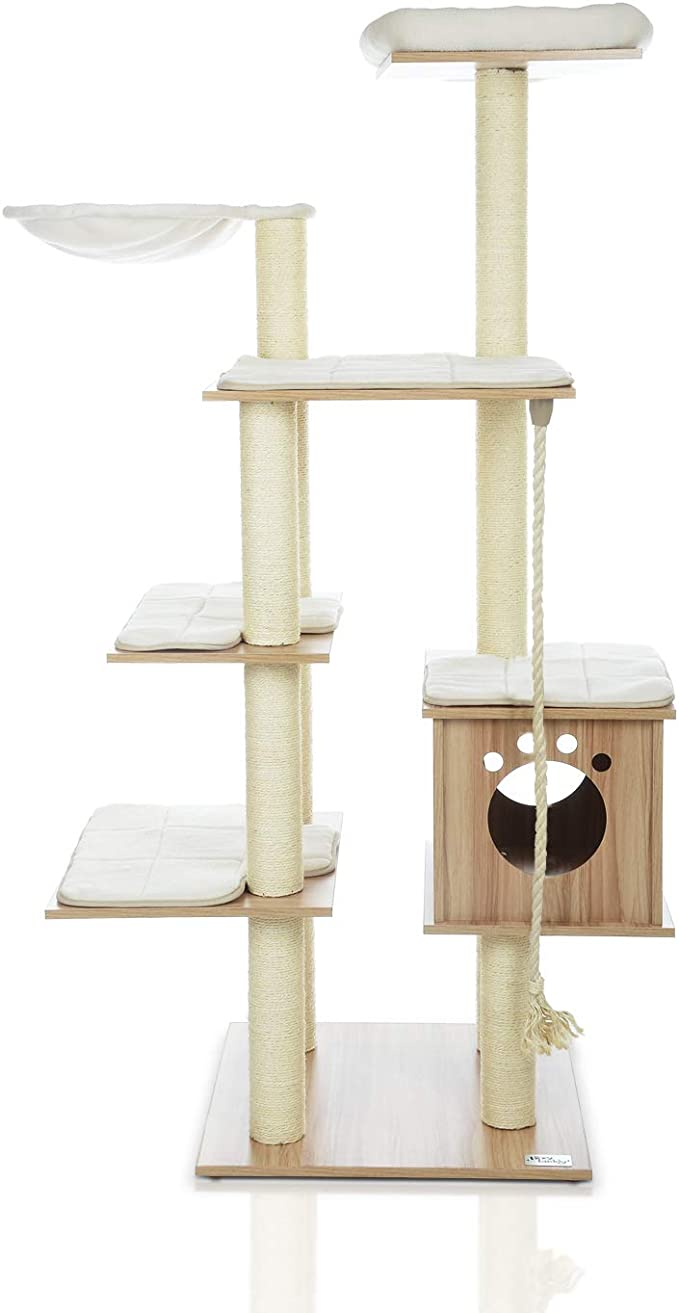 Lazy Buddy 68 Wooden Cat Tree New Arrival Modern Cat Tower 6 Levels For Cat S Activity Cat Furniture With Removable And Washable Mats For Kittens Large Cats And Pets Large