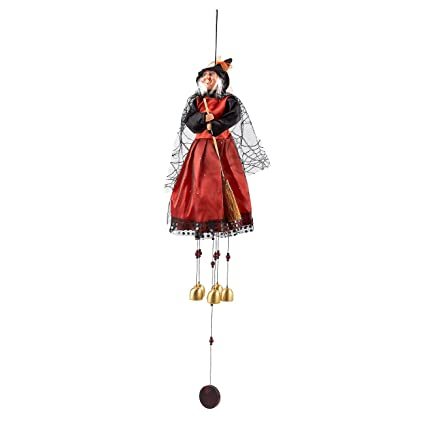 juvale flying witch on broomstick wind chimes perfect for halloween outdoor halloween decoration