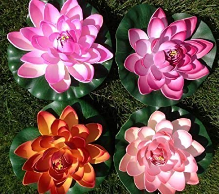 Flor de loto flotante artificial para decoración, 17 cm, muy ...