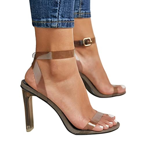 21ee6ceadd Image Unavailable. Image not available for. Color: Women High Heel Sandals  NEWONESUN Clear Open Toe Summer High Heels Dress Sandals Gray