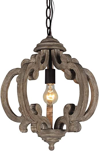 DOCHEER 10135 Rustic Wooden Chandelier Farmhouse 1-Light Wood Metal Chandeliers Retro Iron Ceiling Pendant Hanging Lamp Lighting Fixture for Dining Room, Bedroom, Living Room Lights
