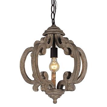 Amazon.com: DOCHEER - Lámpara de techo colgante de madera y ...