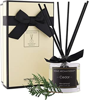 NEVAEHEART Reed Diffuser   3.4oz(100ml) Cedar Scented Reed Diffuser Set   Oil Diffuser & Scented Sticks   Room Freshener Home Decor & Office Decor   Room Fragrance Reed Diffuser Set with Gift Box