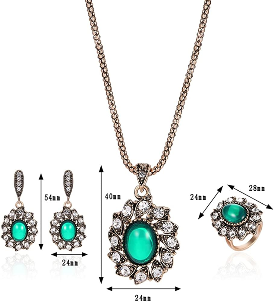 pengyu Vintage Fleur Pendentif Collier Boucles doreilles Bague Turc Ensemble de Bijoux Femme