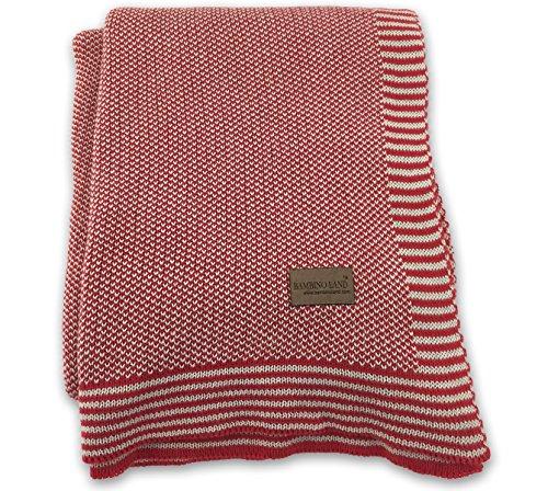 Bambino Land Knit Receiving Blanket - Red & Stone 40