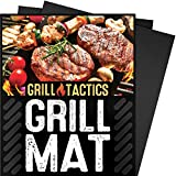 Grill Tactics Grill Mat (Set of 3) - Heavy-Duty Non-Stick BBQ & Grilling Sheet - Lifetime Guarantee - This Best Rated Grill Pad Works With Gas, Electric, Charcoal Grills, and More - 15.75 x 13 Inch