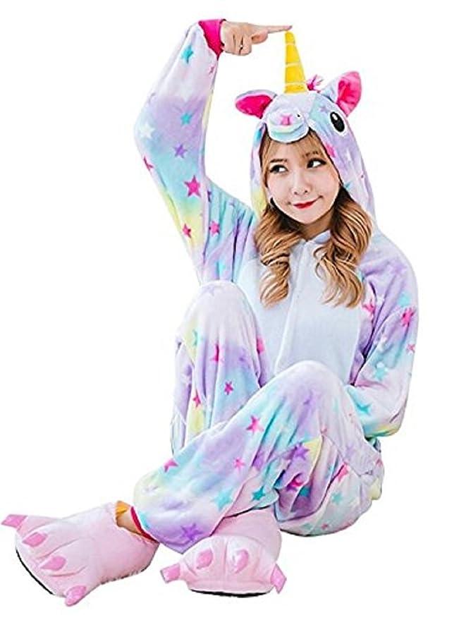 Kigurumi Pijamas Enteros Animales Adultos Flanela Disfraz Unicornio Mujer Hombre Trajes Cosplay Halloween Carnaval Navidad Festival Animal Ropa de Dormir ...