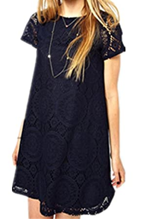 H.X Womens Kaleidoscope Style Big Swing Short SleeveS Hollow Lace Dresses (US 10/Tag XXL, Black)