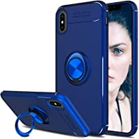 Elegant Choise 360 Degree Rotating Ring Kickstand Protective Case for Apple iPhone XS Max (Blue)