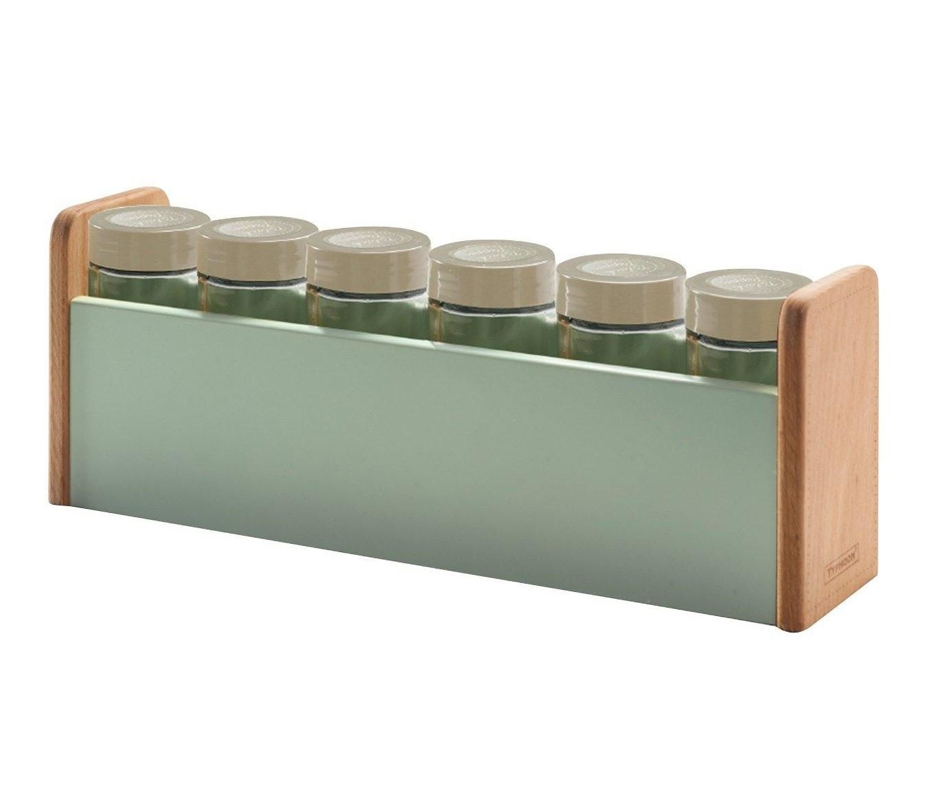 Typhoon vintage americana cucina portaspezie con barattoli e etichette, legno, verde, 29.4x 7.5x 11.5cm 1400.847