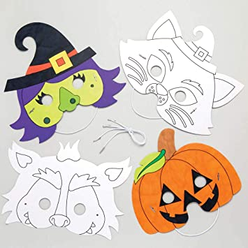 Baker Ross Caretas de Personajes de Halloween para Colorear (Pack de 6), Ideales para Manualidades Infantiles de ...