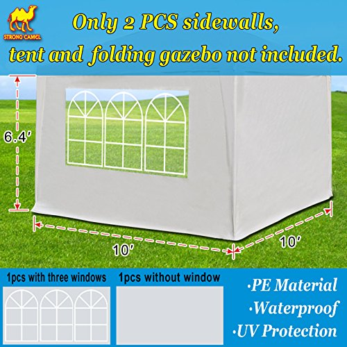 Strong Camel Sidewalls 10' L X6.4' W Size Side Panel for 10' X 10' Tent Outdoor Pop Up Canopy Gazebo Marquee (White)