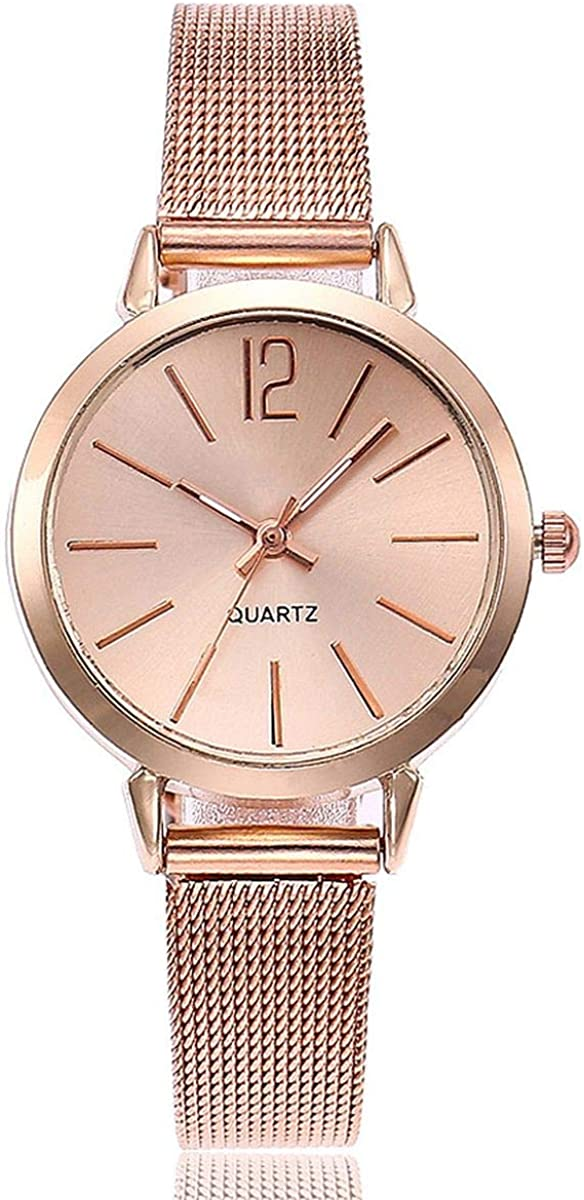 Womens Quartz Watch Small Case Analog Quartz Stainless Steel Rose Gold//Silver Mesh Strap Casual Wrist Watches for Lady