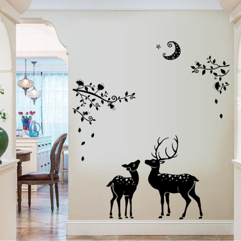 Iuhan® Fashion Moonless Deer Silhouettes Christmas Decoration Decal Window Stickers Home Decor