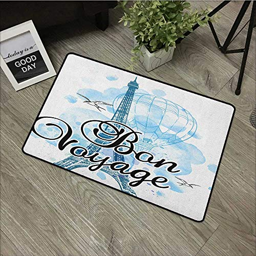 Hall mat W19 x L31 INCH Going Away Party,Eiffel Tower Air Balloon Watercolor Bon Voyage Bird Journey, Pale Blue Black Blue with Non-Slip Backing Door Mat Carpet - Pet Bird Voyage
