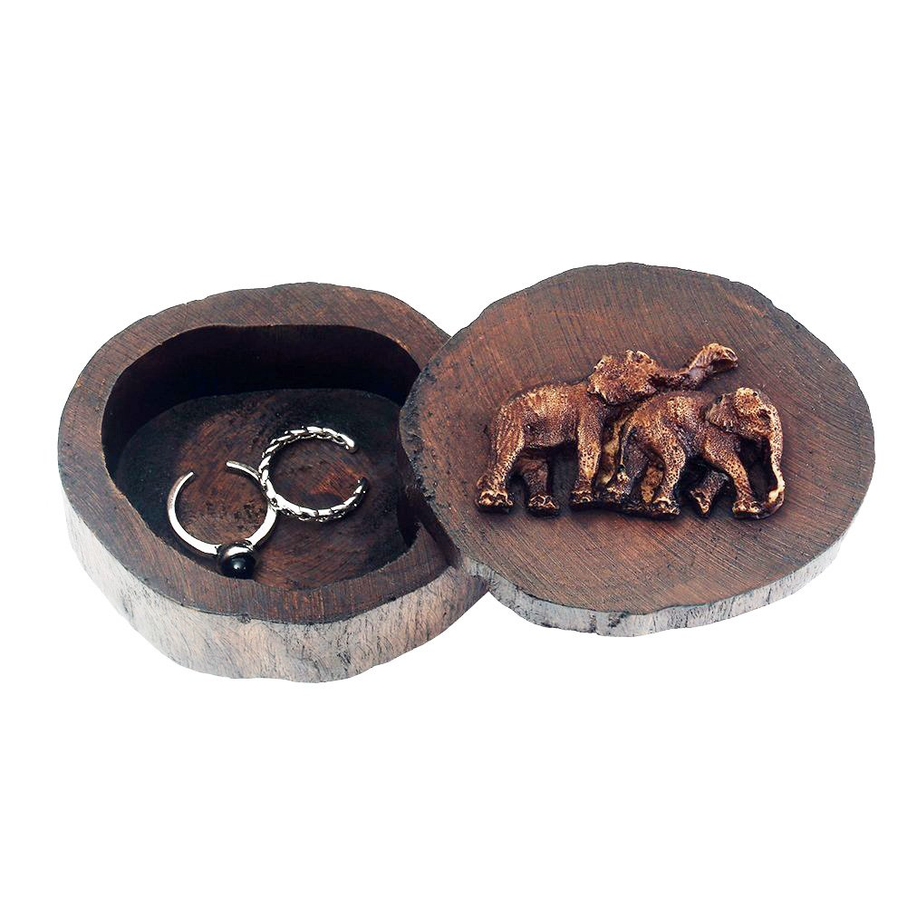 Wooden Ring Box - DesignSter Elephant Round Handmade Antique Wedding Ring Case , Portable Small Indian Jewelry Organizer(S)