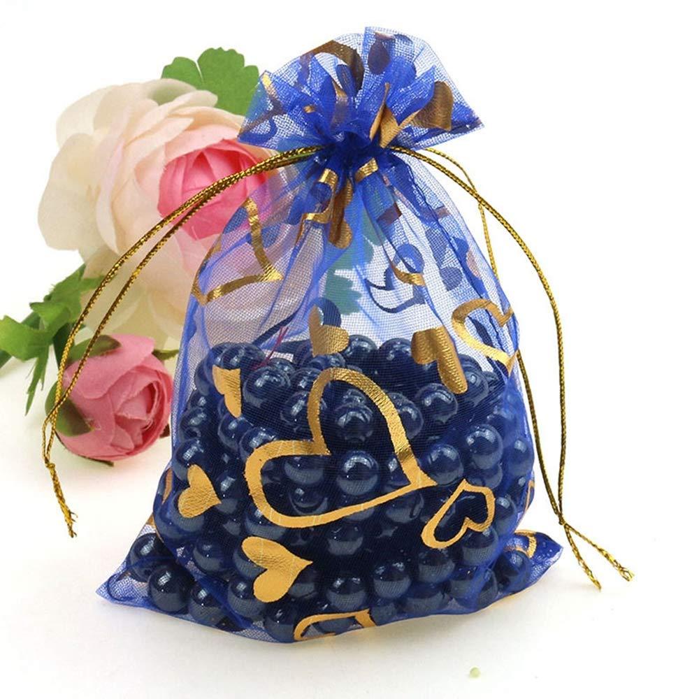 Pochettes /à Bijoux emballant des Sacs de Stockage pour Bonbons Cadeau de no/ël faveur Cadeau Sacs,dor,9x12cm CZSM 100pcs Sacs en Organza w//Cordon