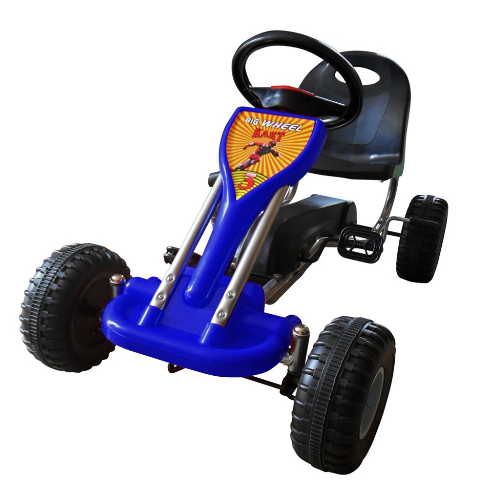 vidaXL Kinder Gokart Gocart Tretauto Go Kart Go Cart Kinderkart Handbremse Blau