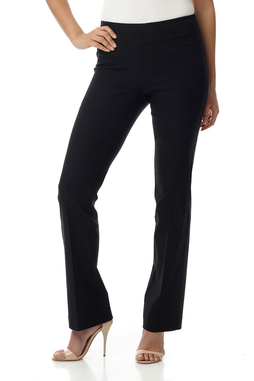 Rekucci Women's Ease In To Comfort Boot Cut Pant (6,Black Texture)