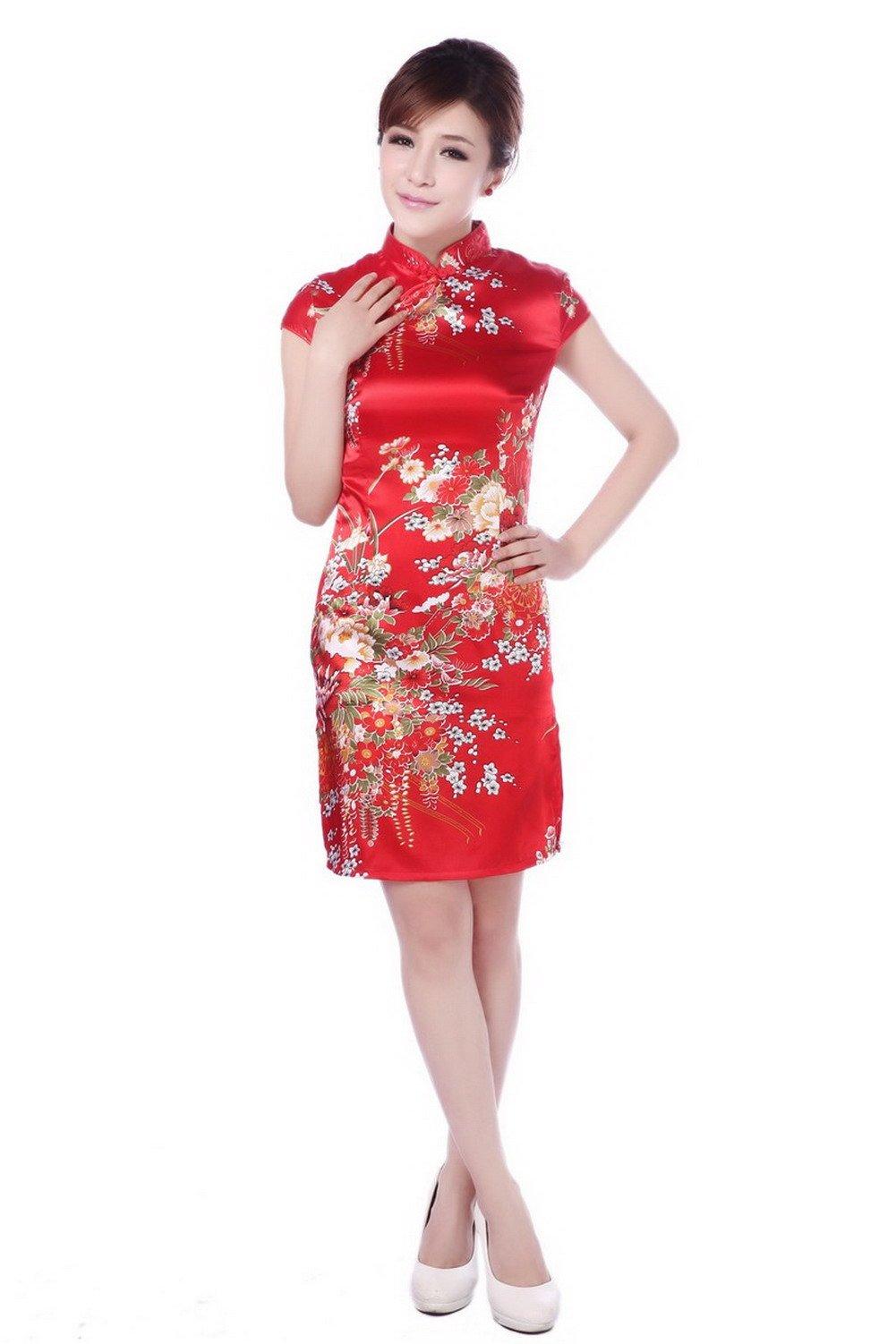 YueLian Women's Chinese Evening Cheongsam Short Qipao Dress (China M= US 4, Red)