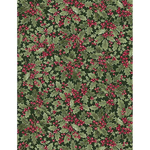 Timeless Treasures Fabrics A Very Merry Christmas Holly Packed Holly Leaves and Berries
