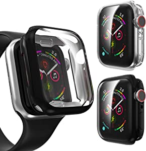 2 Pack Screen Protector case for Apple iWatch Series 6/5/4 44mm, Landhoo 2020 New iWatch Overall Protective Case TPU HD Ultra-Thin Cover for iWatch Series 4/5/6(Clear+Black)