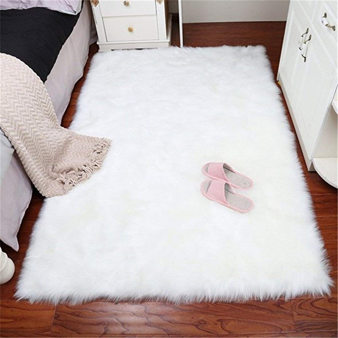 Faux Sheepskin Area Rug Chair Cover Seat Pad Plain Shaggy Area Rugs For Bedroom Sofa Floor