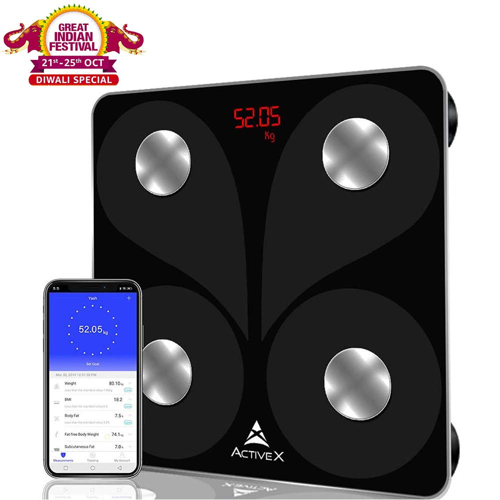 Activex Savvy Smart Digital Body Fat Scale With App (Charcoal Black)