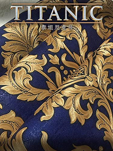 Royal Blue Wallpaper - European Deep Embossed Grooved Pattern Tv Background Wall Paper 5D Basso-Relievo Carved Bedroom Living Room 0.53m (1.73') x 10m(32.8')=5.3m² (57 sq.ft) Wallpaper,Blue