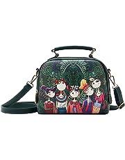 Fanspack Womens Leather Satchel Handbags Printed Crossbody Messenger Shoulder Bag Purses and Handbags