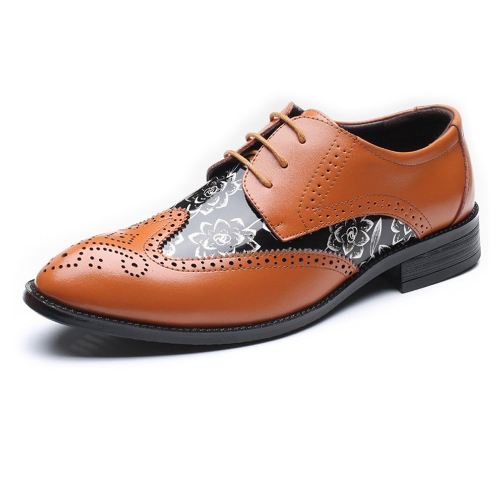 orange JIALUN-shoes Fashion Men's Brogue Loafer shoes Wingtip Hollow Carving Splice Smooth Flower Pattern PU Leather Lace Up Lined Oxfords UP to 29CM