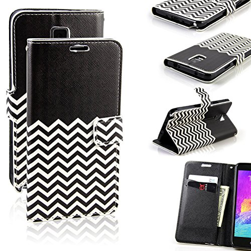 Galaxy Note 4 Case, RANZ Stylish Design Deluxe PU Leather Folio Flip Book Wallet Pouch Case Cover (Black Waves) For Samsung Galaxy Note 4