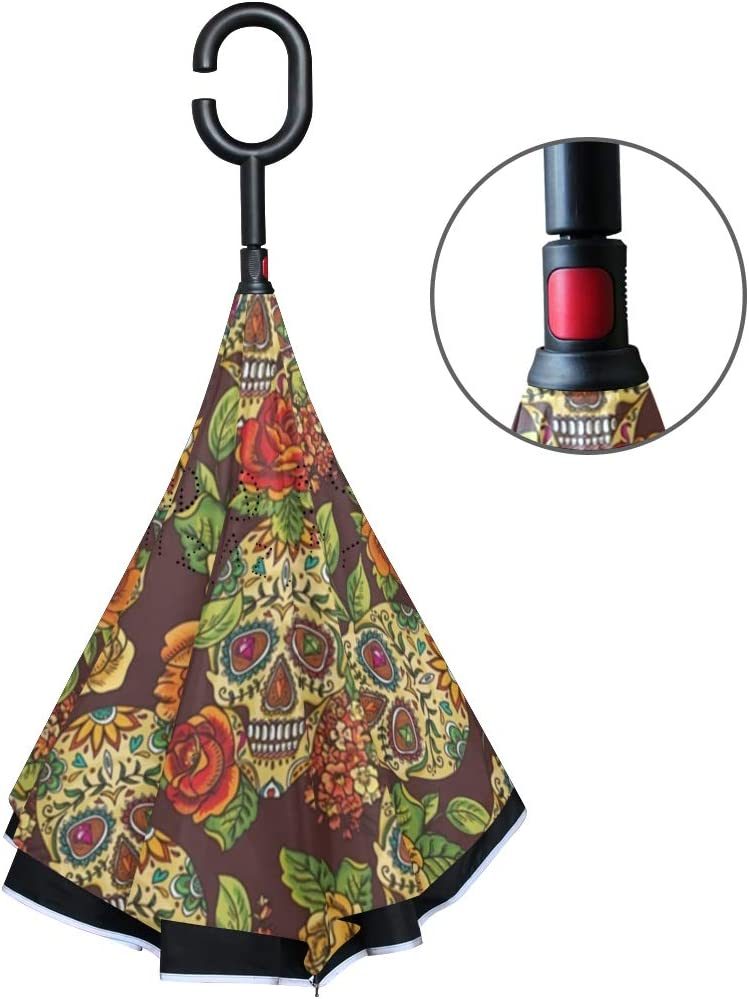 Inverted Umbrella with Mexican Skulls Roses Tribal Print Car Reverse Folding Umbrella