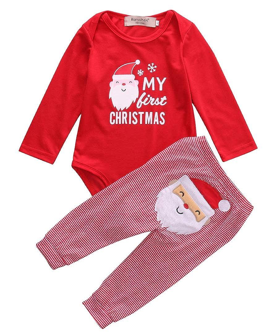 Douhoow Baby Girl Boy Pajamas 2PC Christmas Bear and Snowflake Tracksuit Red
