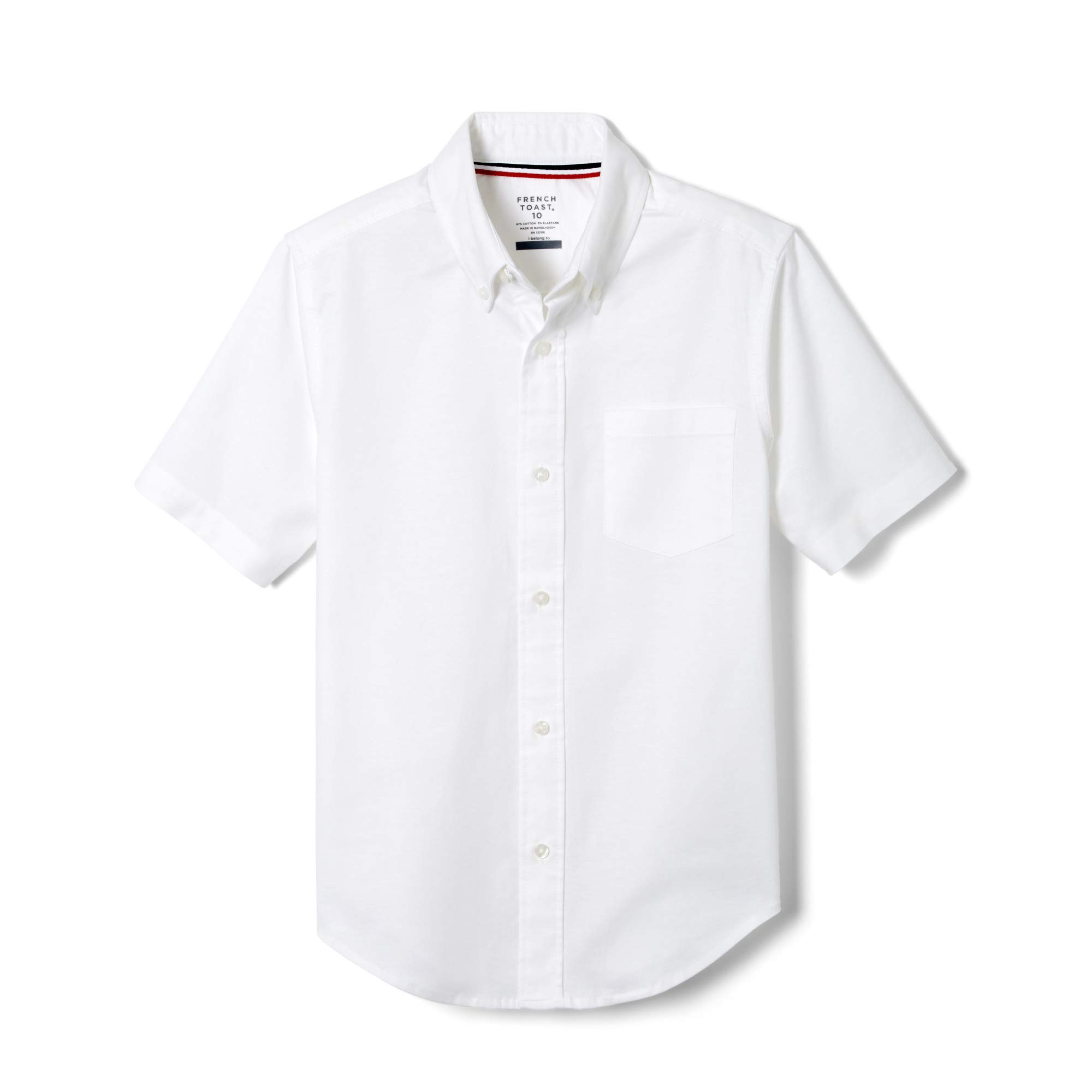 French Toast Boys' Big Short Sleeve Oxford Dress Shirt (Standard & Husky), White Stretch, 8 by French Toast