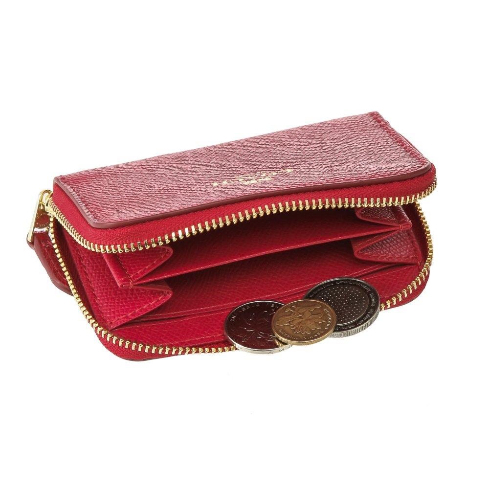 本革製で高級感ある手のひらサイズのミニ財布、コーチ クロスグレイン レザー スモール ジップアラウンド コインパース COACH F27569