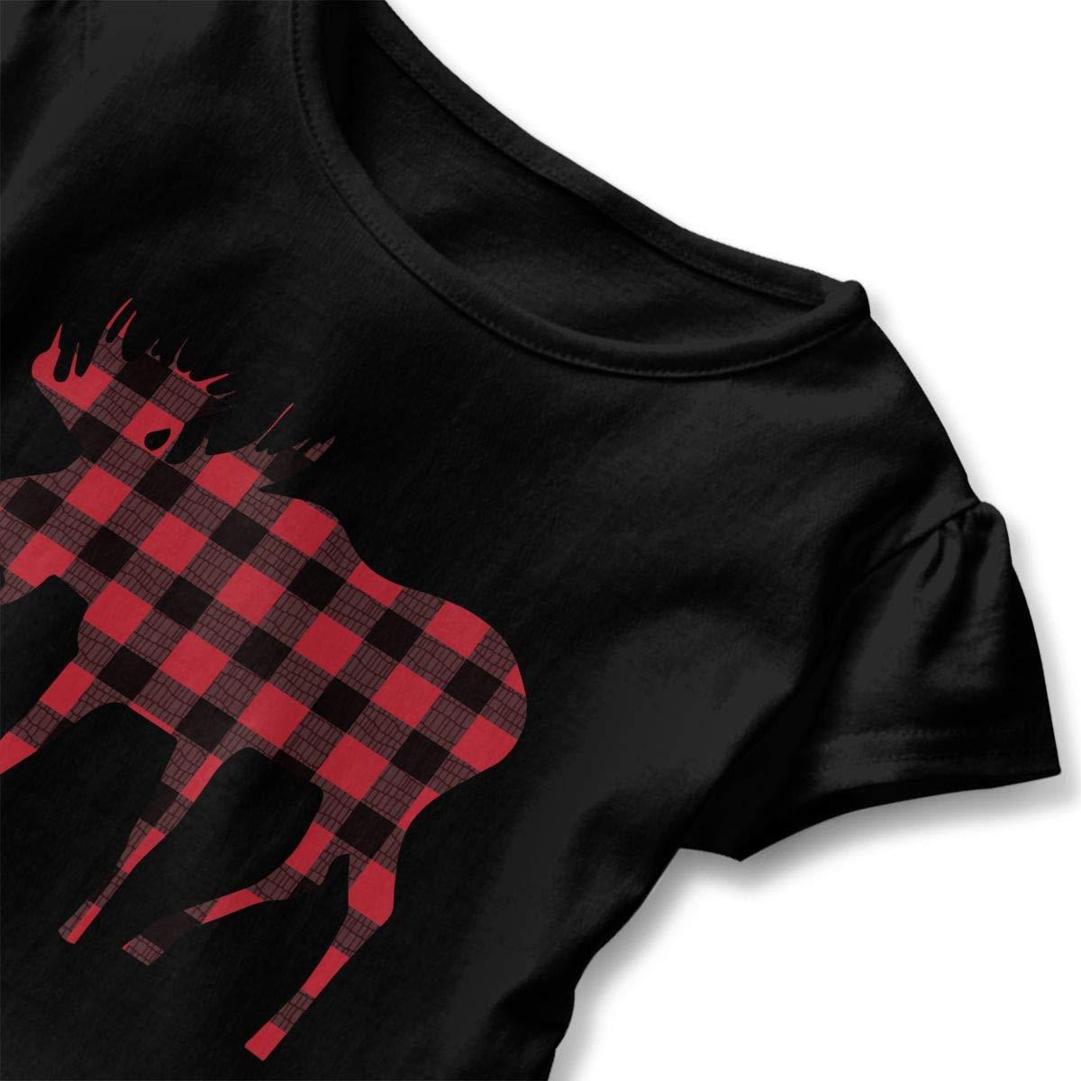 Buffalo Plaid Moose Red Black Toddler//Infant Girls Short Sleeve Ruffles Shirt T-Shirt for 2-6T