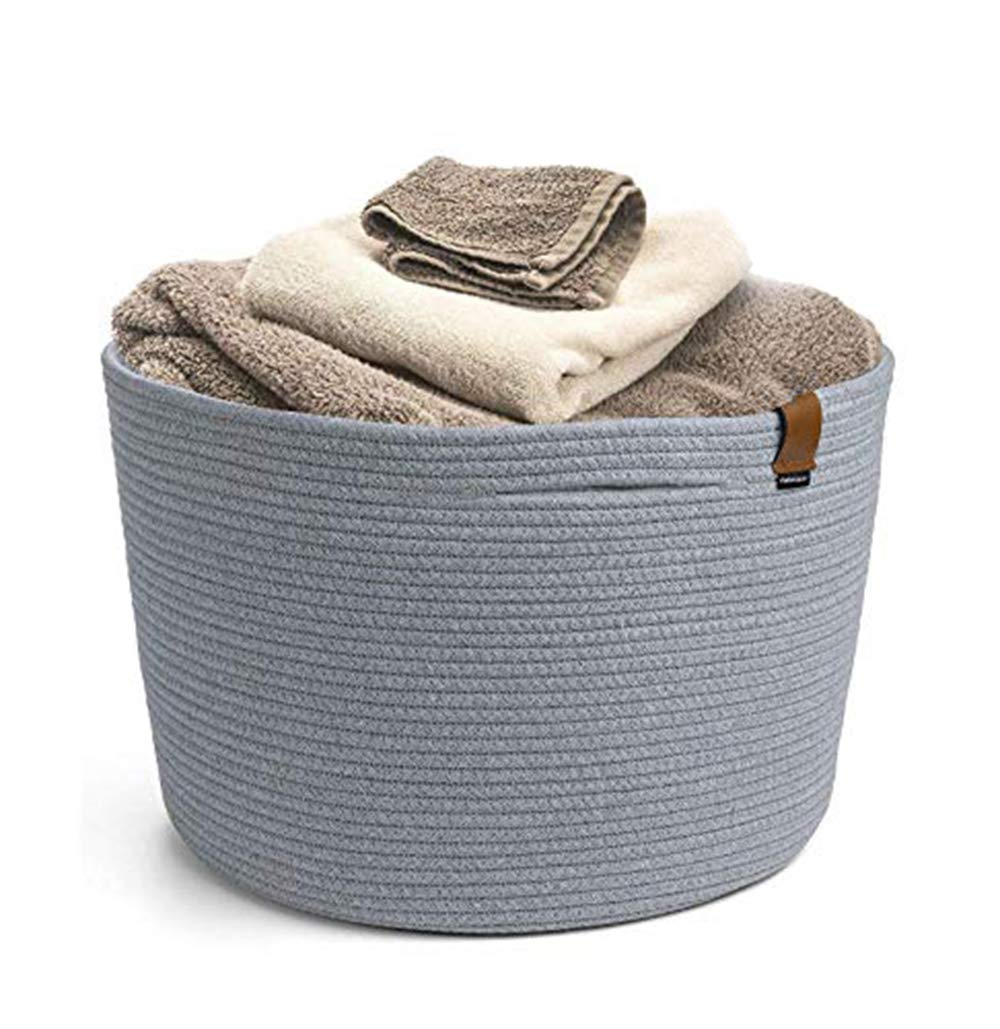 "Cotton Rope Basket- 21.7"" X 13.8"" Toy Storage Basket for Kids' Room - Woven Rope Laundry Basket with Handles, Storage, Toy, Clothing Hampers and Baskets for Bathroom, Bedroom, Nursery, Laundry Room"