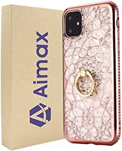 For iPhone 11 Pro Max Case Aimax Diamond Flower Electroplating TPU Cover With Finger Ring Holder Rose Gold
