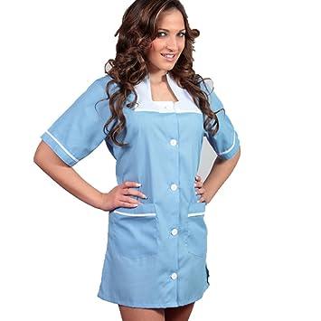 Bata para uniforme clásico de camarera, limpieza de hotel, casa, trabajo, azul claro, Small: Amazon.es: Hogar