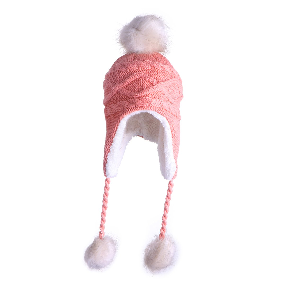 Tinksky Cute Winter Warm Knit Wool Hat Dual Ball Ear Flap with Pom ...