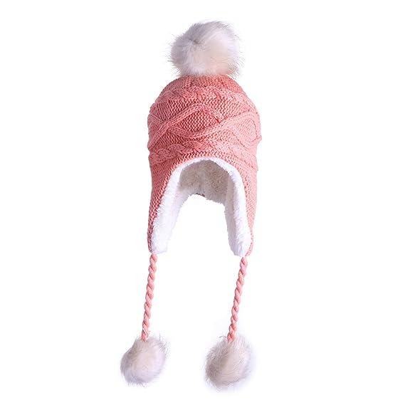 Tinksky Lindo invierno cálido tejer lana sombrero doble bola aleta ...