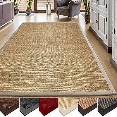 casa pura Area Rug | Sisal Non-Slip Rug for Living Room or Bedroom | Environmentally-Friendly 100% Natural Fiber Carpet | 2 Sizes and Various Colors