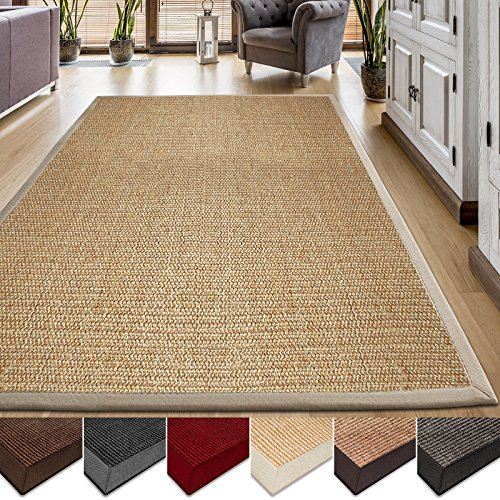 casa pura Area Rug | Sisal Non-Slip Rug for Living Room or Bedroom | Environmentally-Friendly 100% Natural Fiber Carpet | 2 Sizes | Beige - 4' x 6'