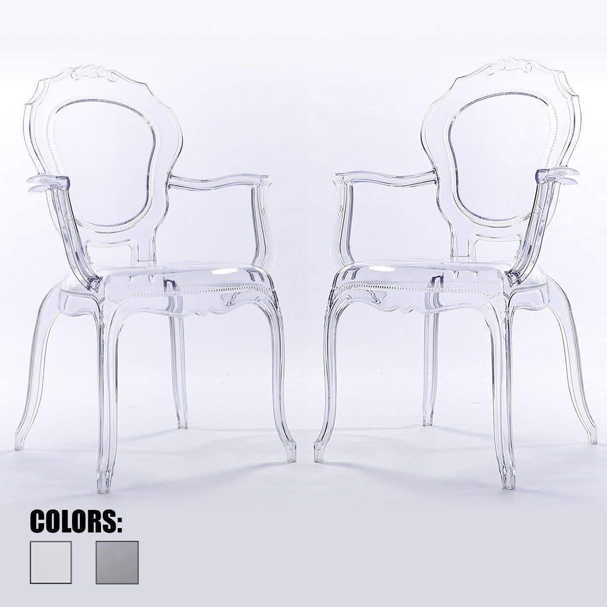2xhome – Belle Style Ghost Chair Ghost Armchair Dining Room Chair – Armchair Lounge Chair Seat Higher Fine Modern Designer Artistic Classic Mold Clear Jorge X2